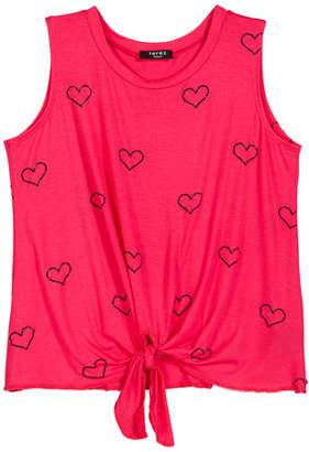 Terez Outline Hearts Foil Print Tie-Front Tank Top, Size 7-16