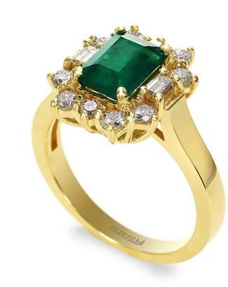 Effy 14k Yellow Gold Diamond Emerald Ring