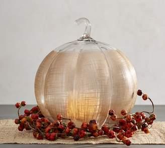 Pottery Barn Linen Glass Pumpkin Candleholder