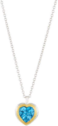 Gurhan Romance Swiss Blue Topaz Heart Pendant Necklace