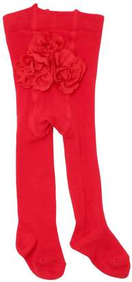 La Perla Cotton Knit Tights W/ Back Flowers