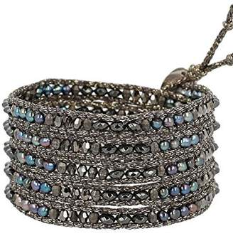 Chan Luu Semi Precious and Freshwater Cultured Pearl Peacock Blue Mix On Grey Metallic Silk Wrap Bracelet