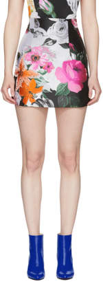 Off-White Off White Black and White Floral Jacquard Miniskirt