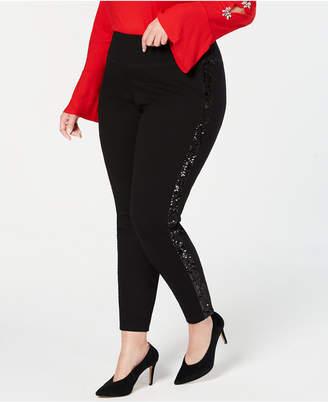 INC International Concepts I.n.c. Plus Size Sequin-Varsity-Stripe Ponte-Knit Pants