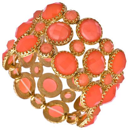 Blu Bijoux Gold And Coral Stones Stretch Cuff Bracelet