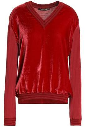 Roberto Cavalli Metallic Velvet-Paneled Stretch-Knit Top
