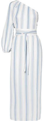 Vanessa Bruno Ivana One-shoulder Striped Cotton-gauze Midi Dress - Blue