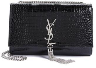 Saint Laurent Medium Kate Tassel Croc Embossed Calfskin Leather Crossbody Bag - Black $2,450 thestylecure.com