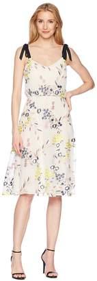 Donna Morgan Embroidered Mesh Blouson Midi with Self Tie Shoulder Women's Dress