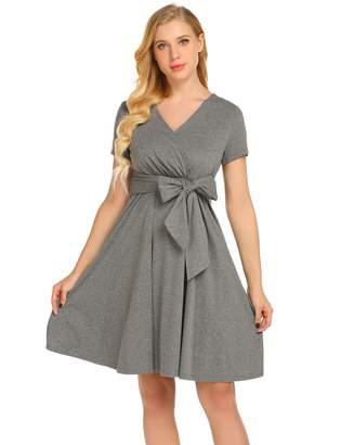 Ekouaer Breastfeeding Dress Short Sleeve Maternity Nursing Sleepwear Wine M