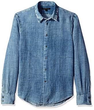 John Varvatos Men's Double Weave Window PANE Long Sleeve Button