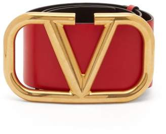 Valentino Oversized Monogram Buckle Leather Belt - Womens - Red