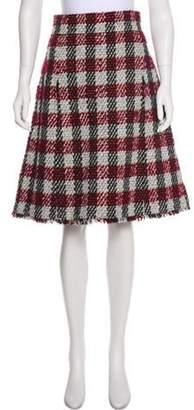Chanel Tweed Knee-Lengh Skirt Red Tweed Knee-Lengh Skirt
