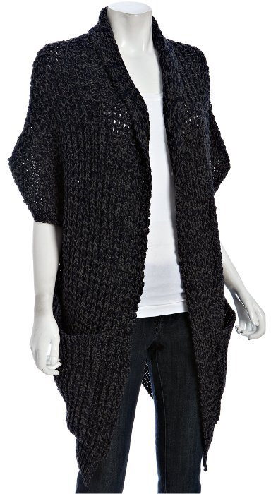 Patterson Kincaid navy chunky knit cocoon cardigan sweater
