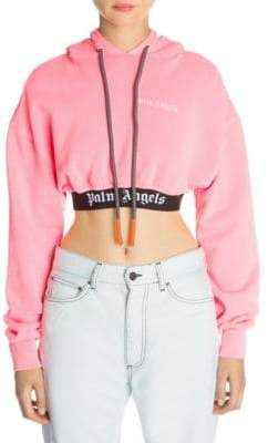 Palm Angels Women's New Basic Cropped Cotton Hoodie - Pink - Size Small