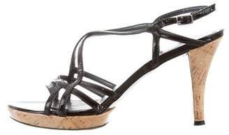 Stuart Weitzman Patent Leather Cutout Sandals