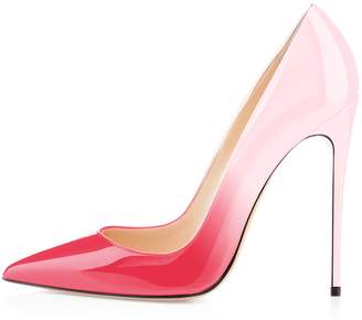 Eldof Women's High Heel Pumps Classic 4.72in Slip On Patent Pointed Toe Stilettos 12cm Wedding Party Dress Pumps US11.5