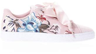Puma Select Basket Heart Pink Sneakers In Suede
