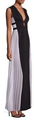 BCBGMAXAZRIA Tahlia Colorblock V-Back Gown $368 thestylecure.com