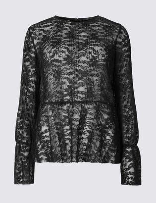 Marks and Spencer Lace Round Neck Long Sleeve Peplum Top