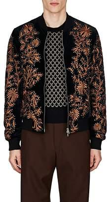 Dries Van Noten Men's Embellished Cotton Velvet Bomber Jacket