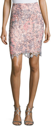T Tahari Floral-Lace Overlay Skirt $95 thestylecure.com