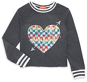 Butter Shoes Little Girl's & Girl's Faded Graphic Heart Sweatshirt