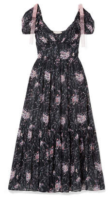 LoveShackFancy Angie Gathered Floral-print Silk-georgette Maxi Dress - Midnight blue