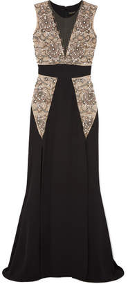 Reem Acra - Embellished Tulle And Silk-crepe Gown - Black