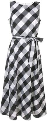 DKNY check print belted flare dress
