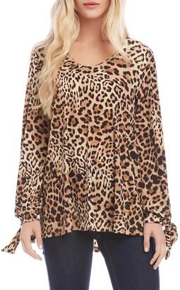 Karen Kane Tie Sleeve Leopard Print Top