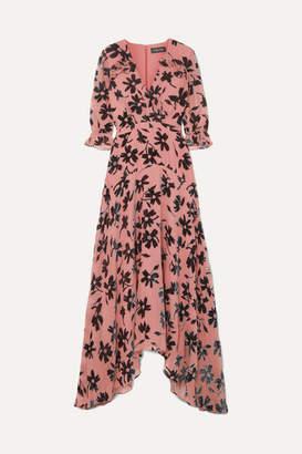 Saloni Edith Ruffled Flocked Chiffon Maxi Dress - Pink