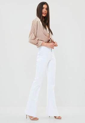 Missguided White High Waisted Stretch Flare Jean