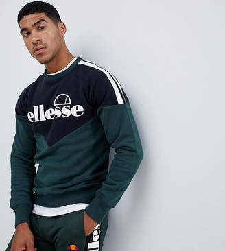 Ellesse Chevron Sweatshirt With Side Stripe In Green
