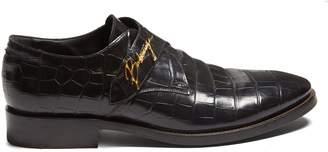 Balenciaga Crocodile-effect leather derby shoes