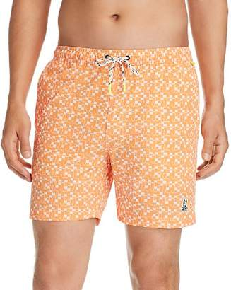 Psycho Bunny Geometric-Print Stretch Swim Trunks