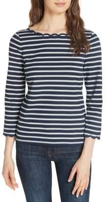 Kate Spade scalloped stripe top