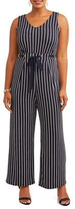 Wrapper Women's Striped Jumpsuit with Tie