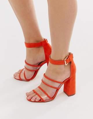 London Rebel clear strap heeled sandals