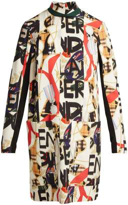Burberry Graffiti and scarf-print silk-blend panelled dress