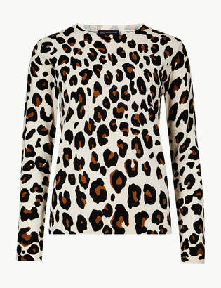 Marks and Spencer Animal Print Round Neck Jumper