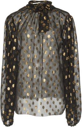 Dolce & Gabbana Metallic Polka Dot Organza Pussybow Blouse