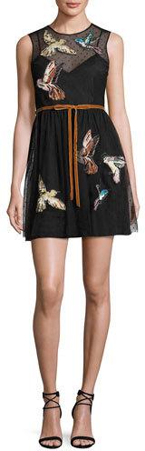 RED ValentinoRED Valentino Sleeveless Point d'Esprit Dress w/ Embroidered Hummingbirds, Nero