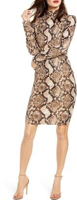 Leith Snake Print Long Sleeve Body-Con Dress