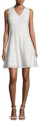 Alice + Olivia Reba Sleeveless Embroidered A-Line Dress, Cream $798 thestylecure.com