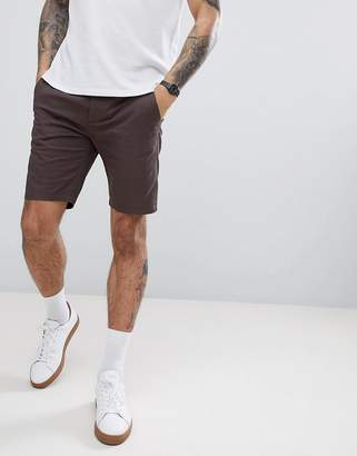 Asos Design DESIGN Skinny Chino Shorts In Brown