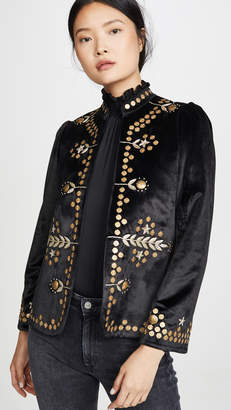 Bohemia Alix of Penelope Black Velvet Jacket with Gold Zardosi Embroidery