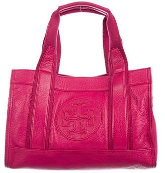 Tory Burch Canvas-Trimmed Leather Tote