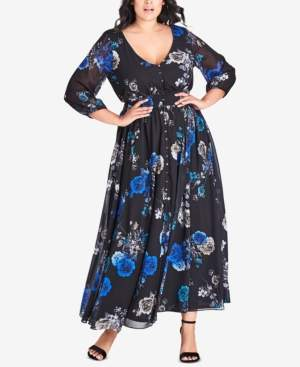 0528a4a6e5 City Chic Trendy Plus Size Electric Rose Printed Maxi Dress