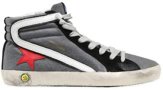 Golden Goose Slide Coated Jersey High Top Sneakers